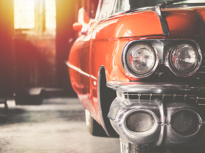 Vintage Car in Garage
